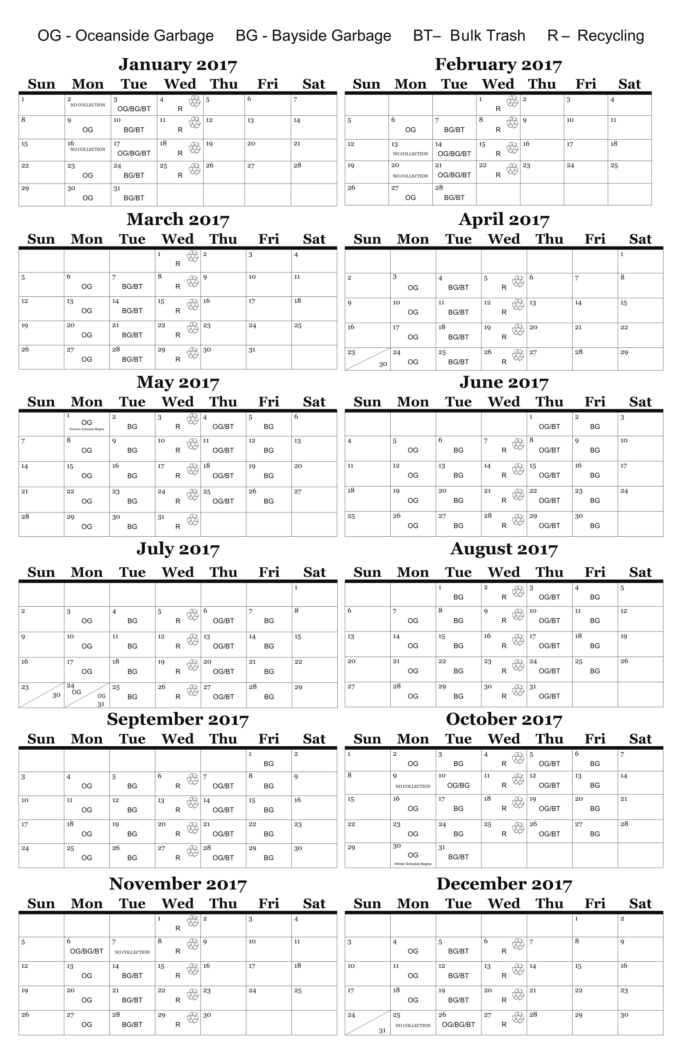 Garbage Collection Schedule 171 Borough Of Seaside Park